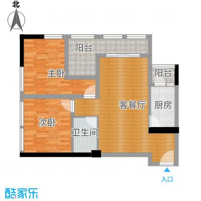 羲城蓝湾69.89㎡一期1号楼3、4-31偶数层E2户户型2室1厅1卫1厨