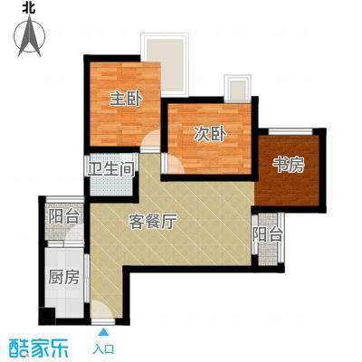 兴隆城市广场70.64㎡一期4、5号楼标准层B户型2室1厅1卫1厨