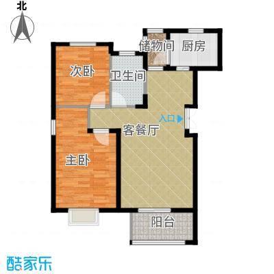 富兴御园85.05㎡电梯洋房F户型2室2厅1卫