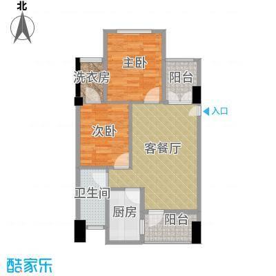 海航新街口62.20㎡A栋3、4、5B栋3、4、14、15号房户型2室1厅1卫1厨