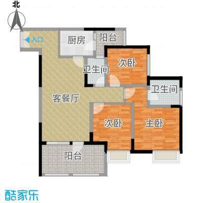 华宇金沙时代84.80㎡三期4号楼3-29层3号房户型3室1厅2卫1厨