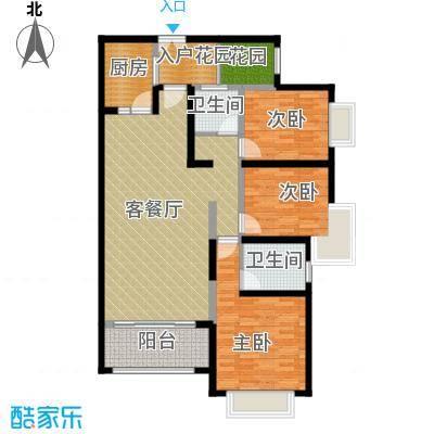 奥克斯广场126.00㎡一期标准层A2户型3室1厅2卫1厨