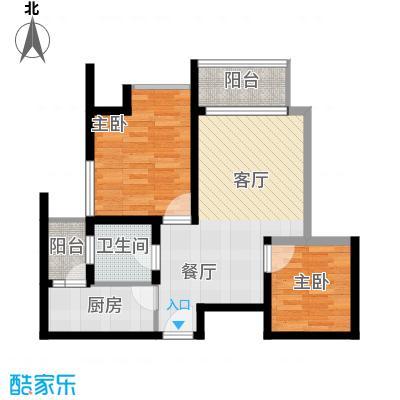 金辉苹果城57.32㎡-户型2室1厅1卫1厨