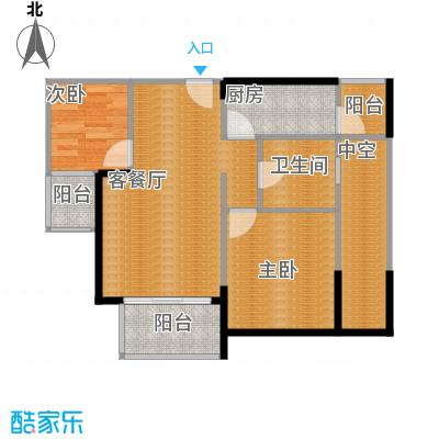 金辉苹果城51.04㎡-户型2室1厅1卫1厨