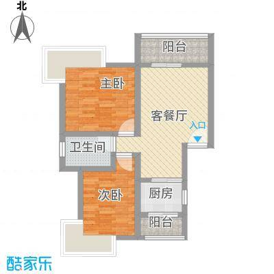 鼎秀风林61.62㎡C户型2室1厅1卫1厨