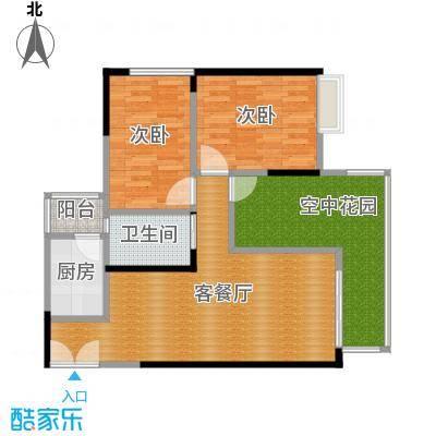 华宇春江花月85.45㎡3号楼3号房户型2室1厅1卫1厨