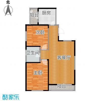格调艺术领地90.00㎡1-2-3号楼2A户型2室2厅1卫