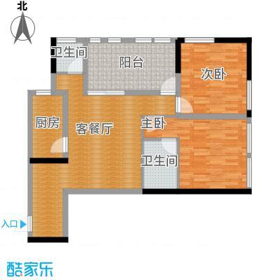 羲城蓝湾78.34㎡一期1号楼4-31奇数层D3户型2室1厅2卫1厨