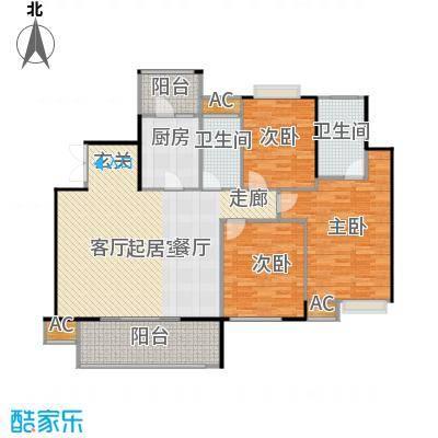 新世界恒大华府128.55㎡A302 户型3室2厅2卫
