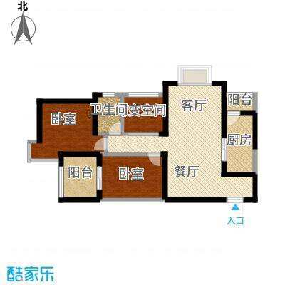 上和城102.79㎡A户型2室2厅1卫