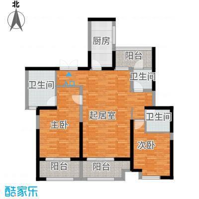 荣禾城市理想132.00㎡B1+赠三露台户型2室3卫1厨