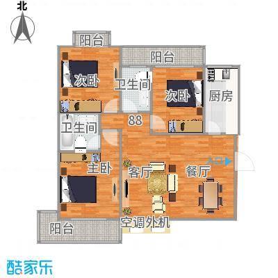 福邸铭门130.57㎡7号楼A户型3室2卫1厨