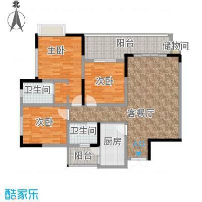 七星恋城112.91㎡C-2标准层户型3室1厅2卫1厨