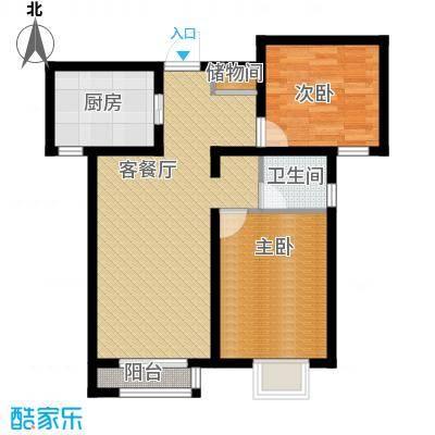 亚泰澜公馆85.00㎡GA-1户型2室2厅1卫