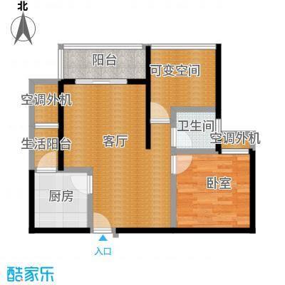 七星恋城62.81㎡B-2标准层户型1厅1卫1厨