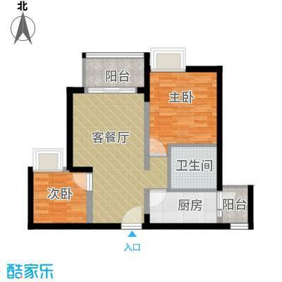 金辉苹果城57.59㎡户型2室1厅1卫1厨