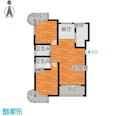 经纬城市绿洲滨海119.96㎡E1户型2室2厅2卫