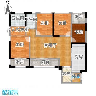 泰悦湾153.00㎡B型双卫户型4室1厅2卫1厨