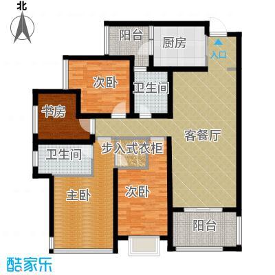 """万科悦峰119.00㎡110315转-04""""3+1""""室双卫双阳台户型4室1厅2卫1厨"""