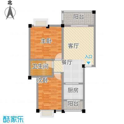 鼎秀风林62.35㎡户型2室1厅1卫1厨