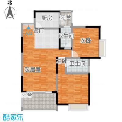 金辉苹果城81.42㎡房型户型2室2卫1厨