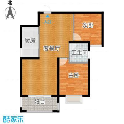 曲江圣卡纳89.50㎡B户型2室1厅1卫1厨