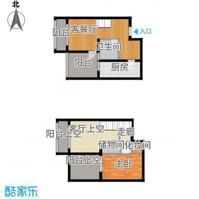 羲城蓝湾79.03㎡一期1号楼4-31奇偶层F3户型1室1厅1卫1厨