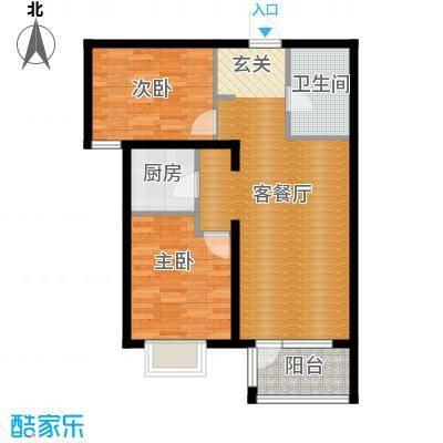 金隅・观澜时代69.96㎡B5户型2室2厅1卫