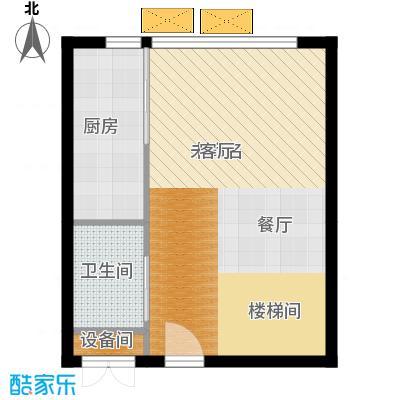 中弘北京像素41.40㎡A1下层户型1室1厅2卫