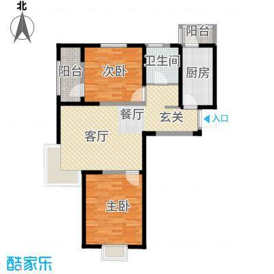 沽上江南72.10㎡高层H户型2室2厅1卫