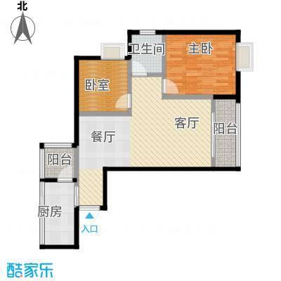 五星国色天香72.00㎡H-3户型1室1厅1卫1厨
