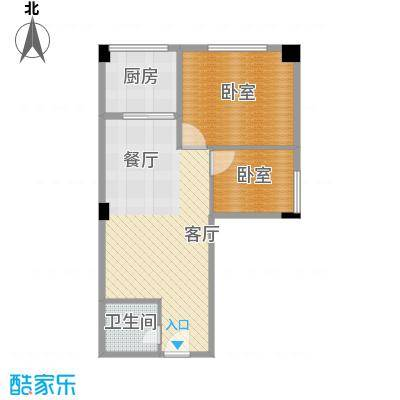大鼎第一时间58.77㎡3号房第3、4层14号房户型1厅1卫1厨