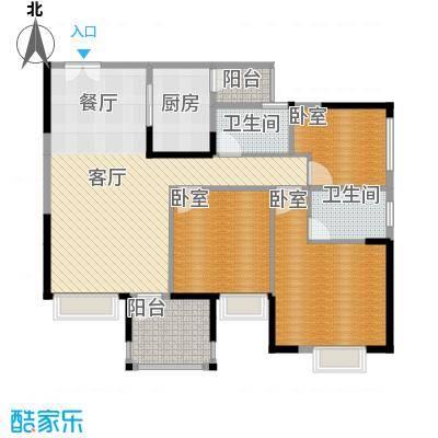 华宇金沙时代93.67㎡12号楼4号房户型1厅2卫1厨
