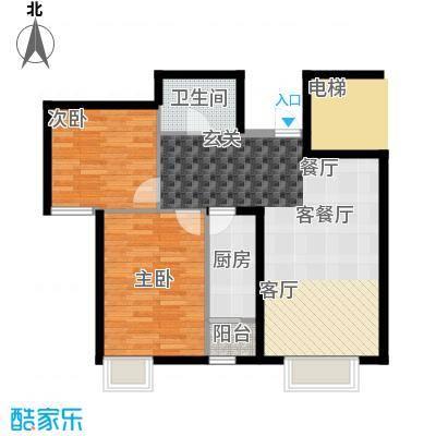 天和林溪A1户型2室1厅1卫1厨