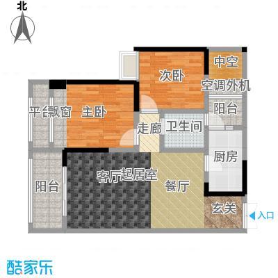 御城华府揽胜20、21号楼标准层D户型2室1卫1厨