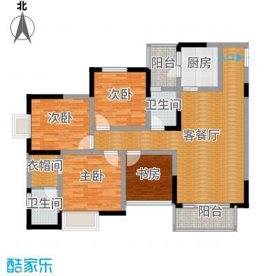 七星恋城122.06㎡C-5标准层户型4室1厅2卫1厨