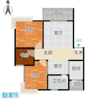 鼎秀风林72.07㎡B户型3室1卫1厨