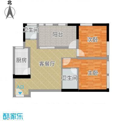 羲城蓝湾75.10㎡一期1号楼3、4-31偶数层D1户型2室1厅2卫1厨