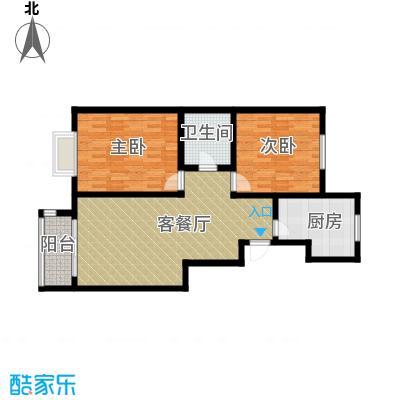龙熙帝景84.01㎡户型2室1厅1卫