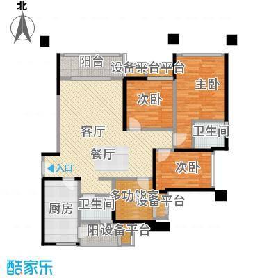 东原D7区95.74㎡G双卫+多功能院馆户型3室2厅2卫
