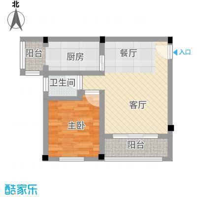 鼎秀风林46.29㎡户型1室1厅1卫1厨