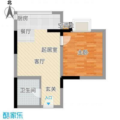 海�印象城45.63㎡海�印象城户型图4、5、6号楼E户型(2/2张)户型1室1厅1卫