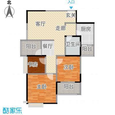 枫韵润园92.88㎡B户型3室1卫1厨
