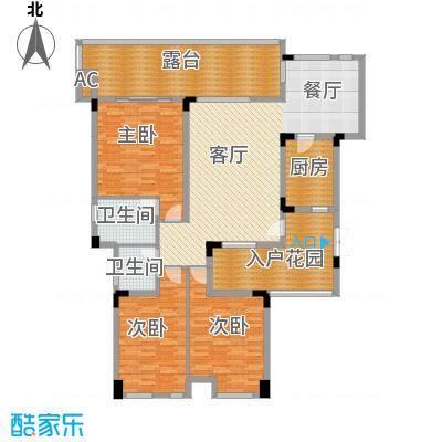 御城华府127.75㎡揽胜13-17号楼三层平面图户型3室1厅2卫1厨
