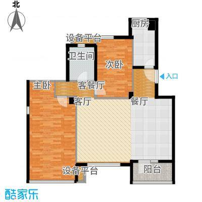 万科锦庐110.00㎡情景洋房五层户型2室2厅1卫
