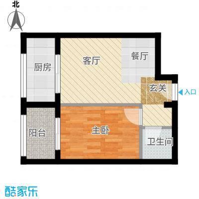 馨雅园53.95㎡1单元E户型1室2厅1卫