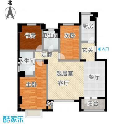 万科锦庐127.00㎡情景花园洋房四层户型3室2厅2卫
