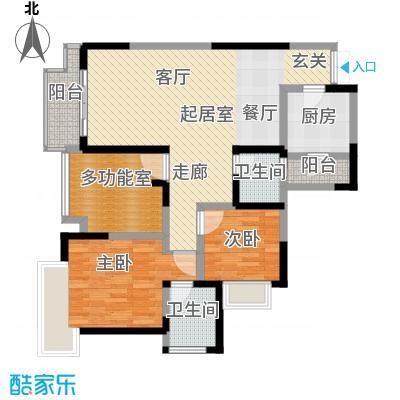 融汇温泉城锦华里91.00㎡E偶数层户型2室2卫1厨