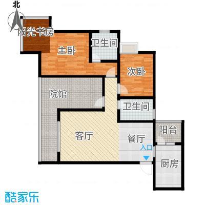 五星国色天香114.79㎡H-1户型2室1厅2卫1厨