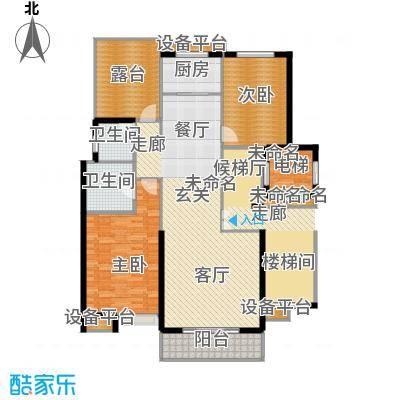 鑫界王府123.69㎡洋房平层户型2室2卫1厨